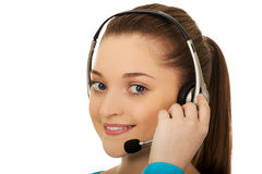 Call center smiling woman operator. Royalty Free Stock Photography