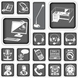 Call center squared icons Stock Photo