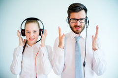Call center stress Royalty Free Stock Images