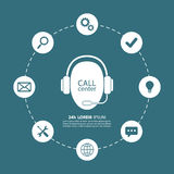 Call center. Support center. Operator in headset. Royalty Free Stock Images