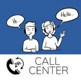 Call Center Support Emblem, doodle. Call Center Support Emblem. doodle vector illustration