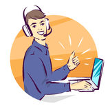 Call center support  illustration, man in handsfree headphones working on laptop and showing thumb up Royalty Free Stock Photos