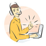 Call center support,  illustration, man in handsfree headphones working on laptop and showing thumb up Stock Photography