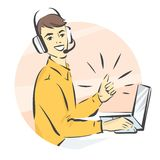 Call center support, man in handsfree headphones working on laptop and showing thumb up isolated illustration.  royalty free illustration
