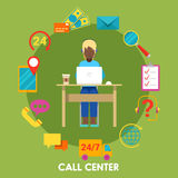 Call Center Support with Operator and Icon Set Stock Photography