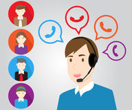 Call center support personnel staff and customer. Vector design Call center support Royalty Free Stock Images