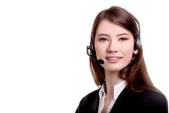 Call center support phone operator in headset  Stock Image