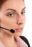 Call center support phone operator in headset isolated Royalty Free Stock Images