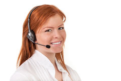 Call center support phone operator in headset isolated Stock Images