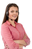 Call center support phone operator in headset isolated Stock Photography