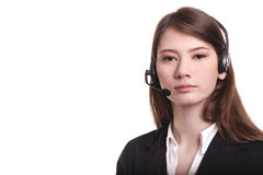 Call center support phone operator in headset isolated Royalty Free Stock Photography