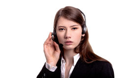 Call center support phone operator in headset isolated Royalty Free Stock Photos
