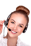 Call center support phone operator in headset isolated. Stock Image royalty free stock photo
