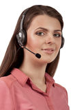 Call center support phone operator in headset isolated Stock Photos