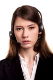 Call Center support phone operator in headset – Stock Image Stock Photo