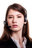 Call Center support phone operator in headset – Stock Image Royalty Free Stock Image