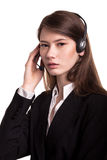 Call Center support phone operator in headset – Stock Image Stock Photos