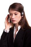 Call Center support phone operator in headset – Stock Image Royalty Free Stock Photos