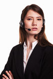 Call Center support phone operator in headset – Stock Image Stock Photography