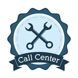 Call center support technical badge Royalty Free Stock Photo