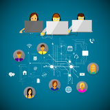 Call center support. Vector iilyustratsiya call center support flat icons Royalty Free Stock Photography