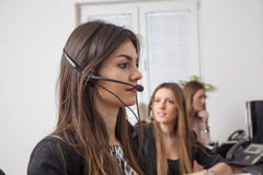 Call center support. Women in call center support Royalty Free Stock Image