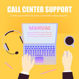 Call center support workers workspace with laptop, pencils, coffee, headphones on orange background and space for text. Flat. Design, top view, office table vector illustration