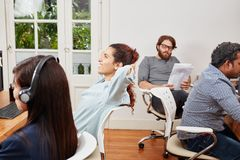 Call center team servicing. As consultant operators stock image
