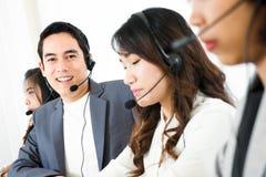 Call center telemarketer or operator team stock photos