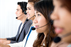 Call center or telemarketer team. Customer service operator concept royalty free stock photos