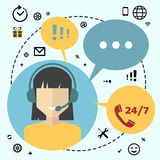 Call center telemarketing woman operator. Customer support and telephone sales concept. Flat avatar and icons Stock Photos