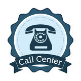 Call center telephone line support badge Royalty Free Stock Photos