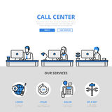Call center user support office banner flat line art vector icon Royalty Free Stock Photo