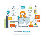 Call center, user support office workplace and team work. Royalty Free Stock Photo