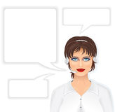 Call Center Woman. Call Center Beautiful Woman with Headset, and set of Speech Bubbles. Vector Illustration Royalty Free Stock Photography