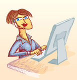 Call center woman. Is included a black and white only version Stock Photo