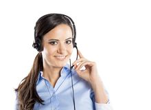 Call center woman. Beautiful call center young woman ready for support and contact Royalty Free Stock Photography