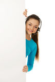 Call center woman with billboard. Stock Photos