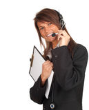 Call center woman with clipboard Stock Images