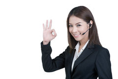 Call center woman customer service operator. In isolated stock photos