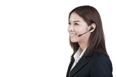Call center woman customer service operator isolated Stock Photo
