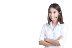 Call center woman customer service operator. In isolated royalty free stock image