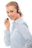 Call center woman with headset Stock Photo