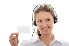 Call center woman with headset Stock Photography