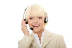 Call center woman with headset Stock Photos