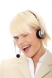 Call center woman with headset Royalty Free Stock Photography