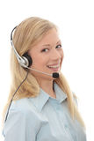 Call center woman with headset Royalty Free Stock Images