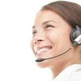 Call center woman headset Royalty Free Stock Image