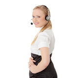 Call center woman with headset. Stock Image