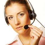 Call center woman with headset. Stock Images